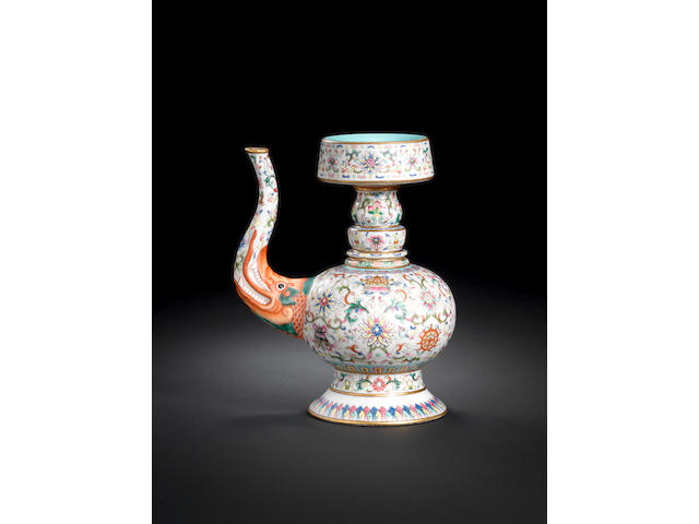 A rare famille rose Tibetan-style ewer, penba hu Iron-red Jiaqing seal mark and of the period