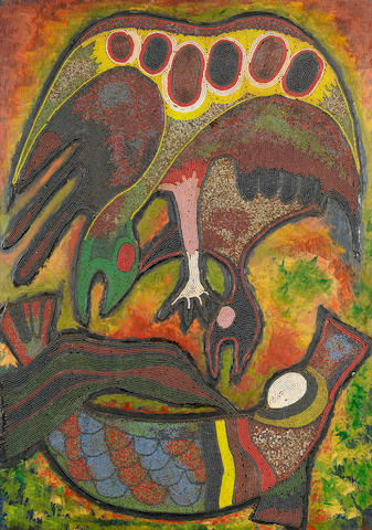 Jimoh Buraimoh (Nigerian, born 1943) Birds taking the giwa rua (elephant of the river)