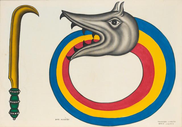 Cyprian  Tokoudagba Rainbow Serpent unframed
