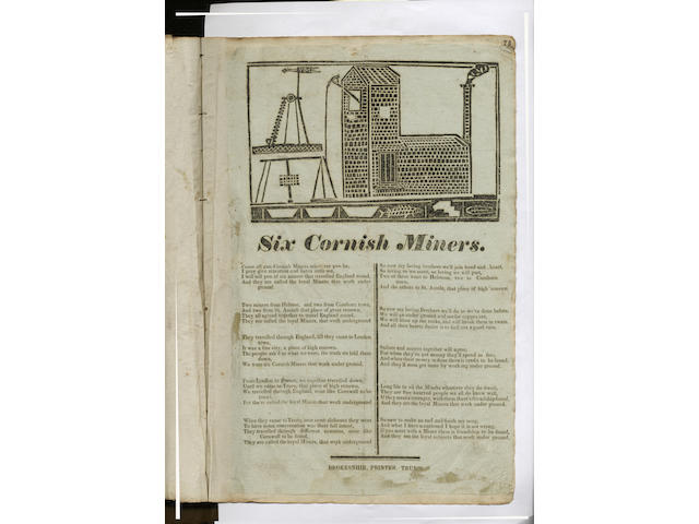BROADSIDES, BALLADS and PRINTED EPHEMERA Album of printed ephemera, including approximately 90 broadsides and ballad sheets, mostly Cornish imprints