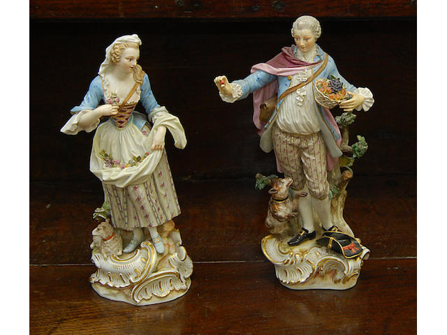 A pair of late 19th Century Meissen figures
