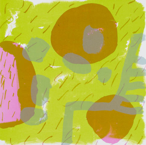Patrick Heron (British, 1920-1999) Garden Print Lithograph, 1987, printed in colours to the sheet edge, on wove, signed, dated and inscribed 'AP' verso in pink pen, within card folder, published in 'Artist's Choice' Portfolio by the RCA, 305 x 305mm (12 x 12in)(SH)(unframed)