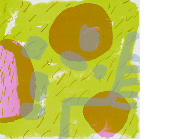 "Patrick Heron (British, 1920-1999) Garden Print Lithograph, 1987, printed in colours to the sheet edge, on wove, signed, dated and inscribed 'AP' verso in pink pen, within card folder, published in ""Artist's Choice"" Portfolio by the RCA, 305 x 305mm (12 x 12in)(SH)(unframed)"