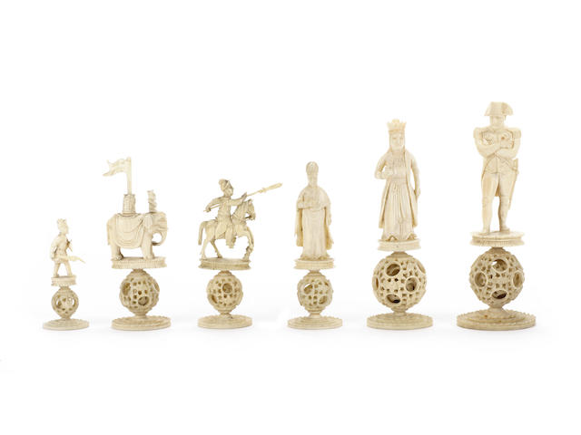 """A Chinese Export """"Napoleonic"""" ivory figural chess set, Canton, circa 1815,"""