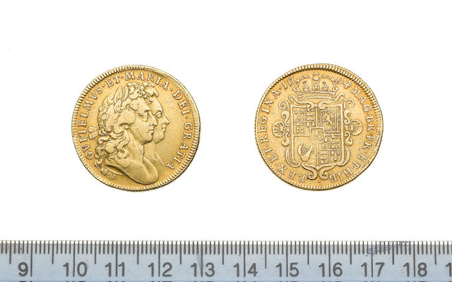William and Mary, 1688-94, Two Guineas, 1694/3, conjoined busts right,