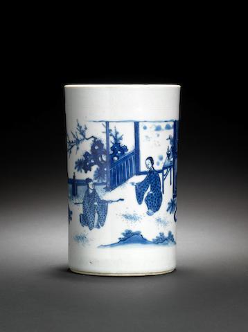 A blue and white brushpot, bitong Shunzhi