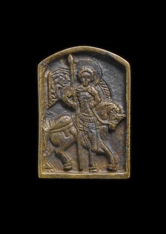A Byzantine bronze portable icon of a warrior Saint