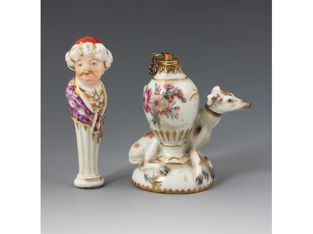An English porcelain pipe stopper and a Chelsea scent bottle Circa 1820 and Mid 18th Century.