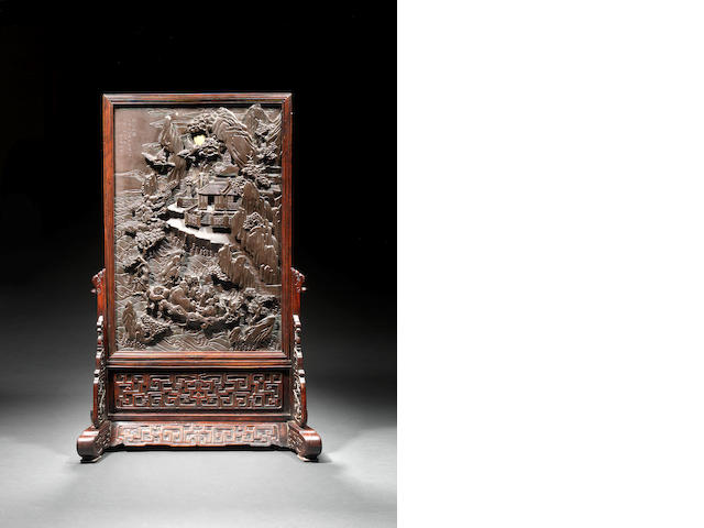 A rare inscribed and dated 'duan' stone screen and stand Dated by inscriptions to AD1795 and AD1801 and of the period