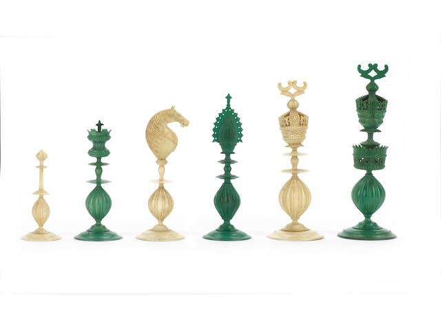 An Indian Export ivory chess set, Vizagapatam, early 19th century,