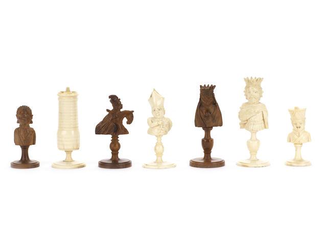 "A bone and coquilla nut ""bust"" chess set, Dieppe, circa 1810,"