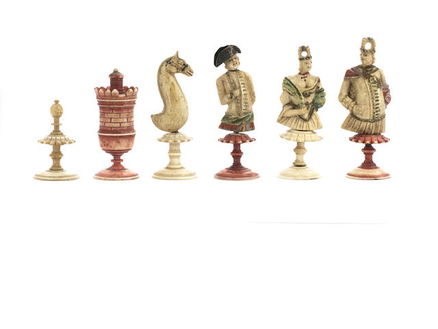"A figural bone ""bust"" chess set, Nuremberg, circa 1780,"