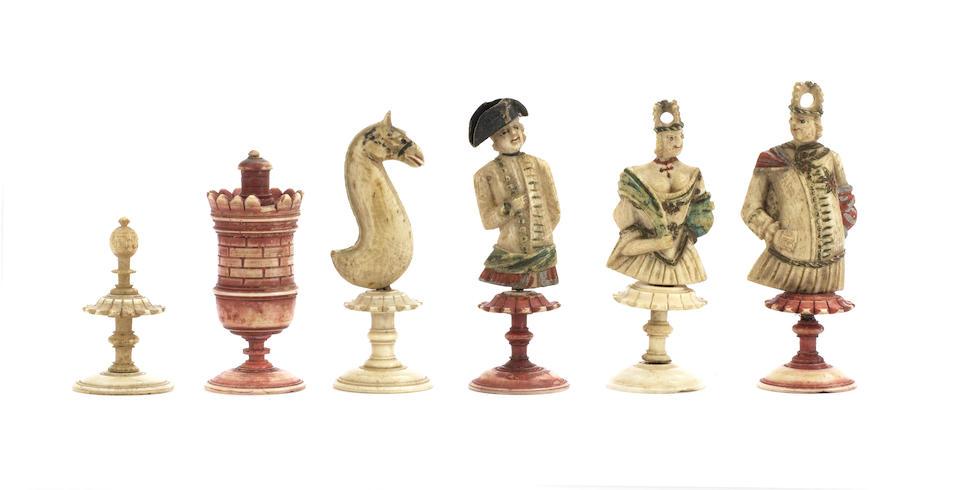 "A figural bone ""bust"" chess set, Nuremberg, circa 1780,"