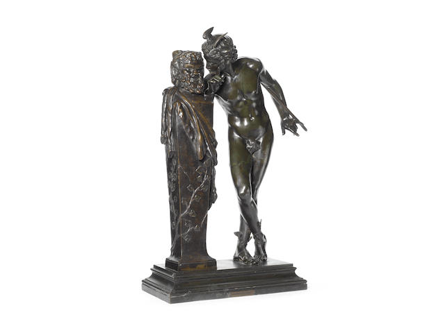 Hippolyte Alexandre Julien Moulin (French, 1832-1884): A patinated bronze model of 'Un Secret d'en Haut'