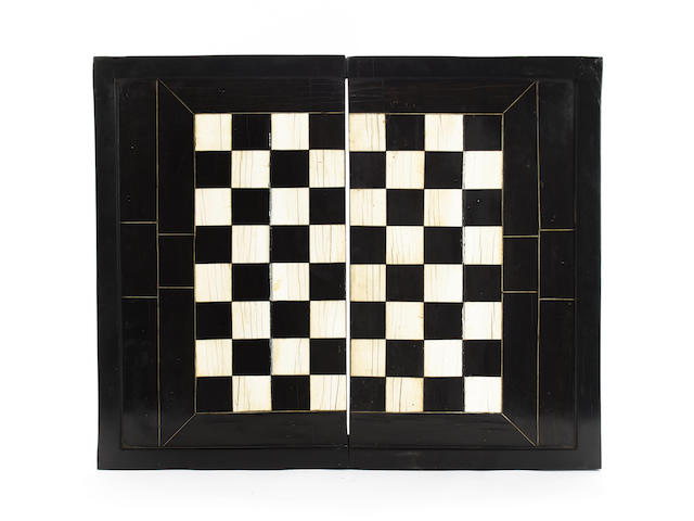 An ebony and ivory inlaid games board/box, Southern Germany, 18th century,