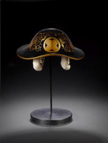 A roiro lacquer inlaid jingasa Meiji Period