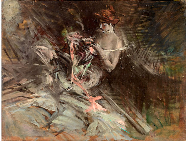 Giovanni Boldini (Italian, 1842-1931) The ball gown (Interior with young girl sewing)