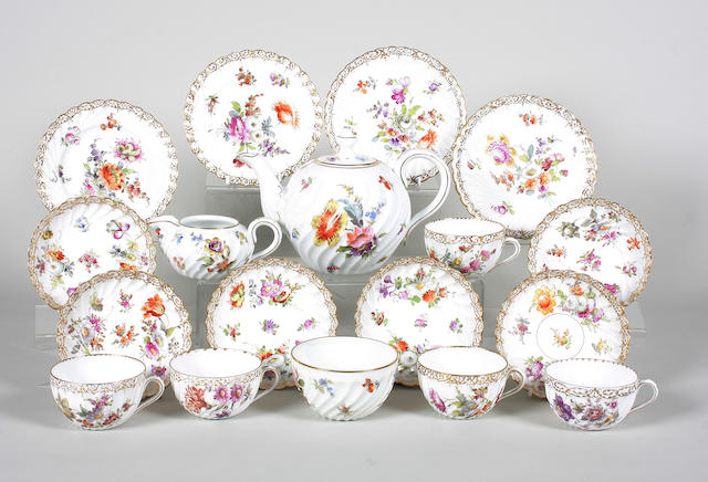 A Dresden part tea service Early 20th Century.