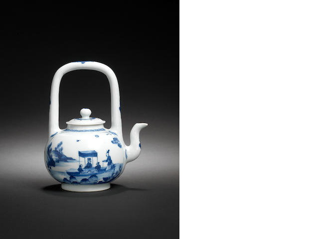 A rare blue and white wine ewer and cover Yongzheng four-character mark and of the period, circa 172