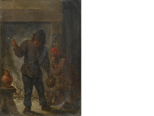 Follower of David Teniers the Younger (Antwerp 1610-1690 Brussels) Two topers smoking in a tavern in