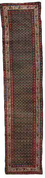 A near pair of North West Persian runners 14 ft 10 in x 3 ft 5 in (454 x 104 cm), 1 larger than other,