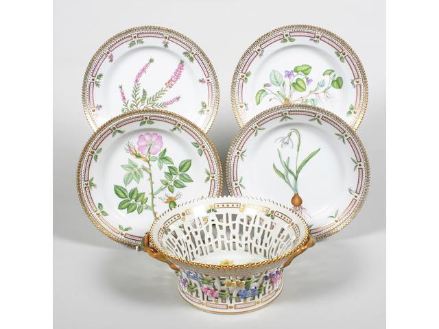A set of four Royal Copenhagen 'Flora Danica' dessert plates and a dessert basket Circa 1985-1991