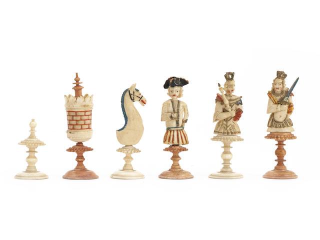 """A bone figural """"bust"""" chess set, Geislingen, circa 1780,"""