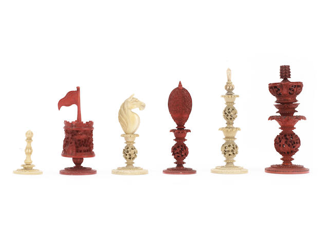 "A ""Burmese Pattern"" ivory chess set, Canton, circa 1820,"