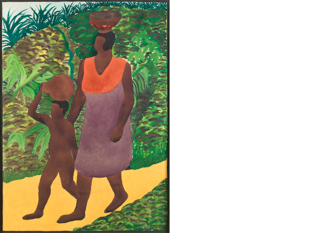 Benedict Chukwukadibia Enwonwu, M.B.E (Nigerian, 1917-1994) Mother and child on a track
