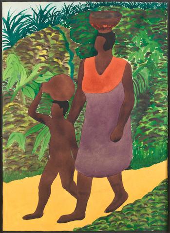 Benedict Chukwukadibia Enwonwu, M.B.E (Nigerian, 1917-1994) Mother and child on a track