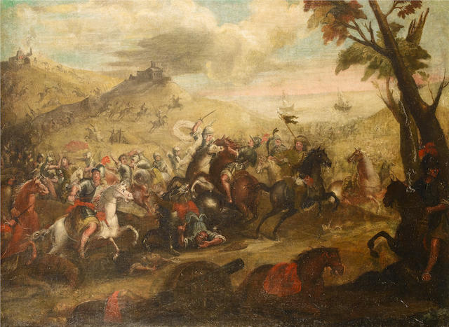 Neapolitan School, 18th Century A cavalry battle before a coastal landscape,