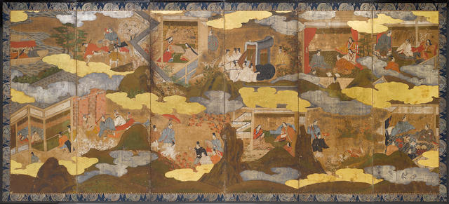 A pair of six-fold screens, Genji Monogatari, mid 18th century