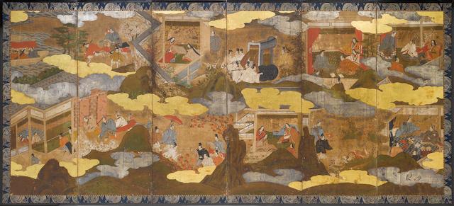 A pair of six-fold screens, Genji Monogatari, mid 18th century