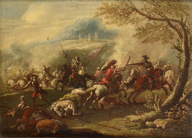 Francesco Graziani (active Naples and Rome late 17th and early 18th Centuries) A cavalry skirmish; a