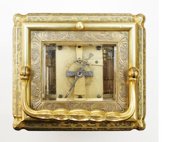 A  late 19th century repeating adjustable striking alarm carriage clock J. M. Mellerio, Baden Baden