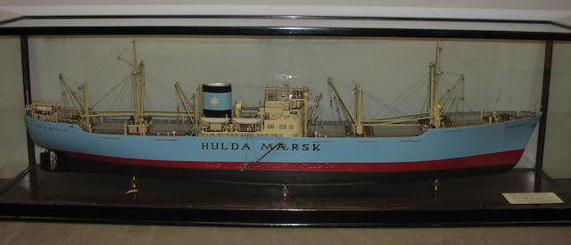 "A Builder's model of the cargo ship ""HULDA MAERSK"" 1949 64x21x12.5in(163x53.5x32cm)"