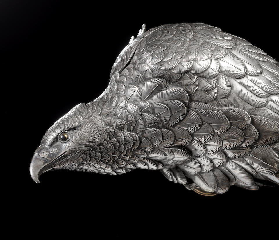 A silver koro and cover modelled as a hawk By Ichiryu Tomonobu, dated 1898