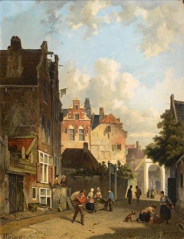 Adrianus Eversen (Dutch, 1818-1897) Street scenes, Amsterdam ((2))