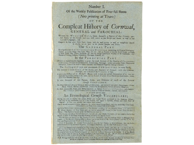 HALS (WILLIAM) The Compleat History of Cornwal[l], General and Parochial, Part 2 [all published], WITH IMPORTANT MANUSCRIPT ADDITIONS AND ANNOTATIONS