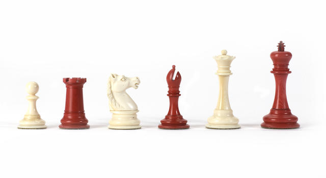 "A ""Staunton Pattern"" ivory chess set, presumably English, late 19th century,"