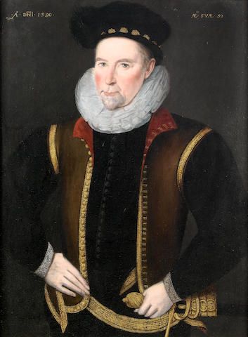 Circle of Marcus Gheeraerts the Younger (Bruges 1561-1635 London) Portrait of a gentleman,