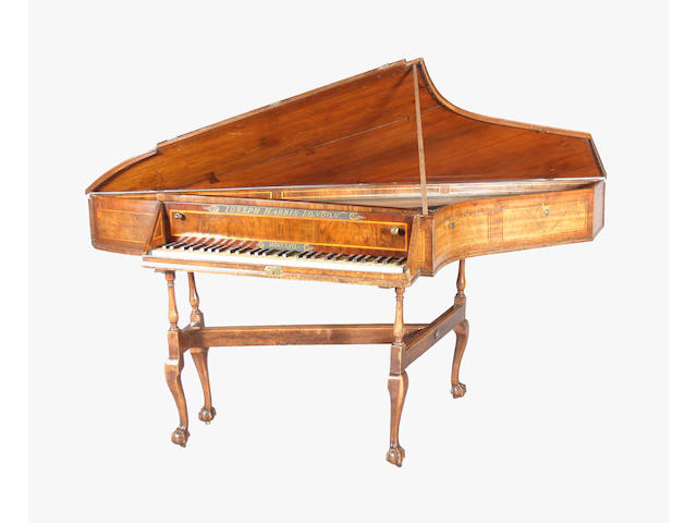 A rare 18th century spinet by Joseph Harris, London, circa 1757, in a line inlaid walnut case