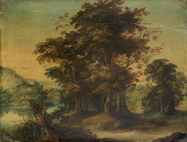 Circle of Abraham Govaerts (Antwerp 1589-1626) A wooded river landscape
