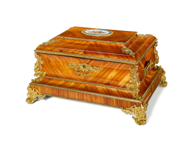 A large French mid-19th century Sèvres-style porcelain and ormolu mounted tulipwood jewel casket possibly by maison Giroux, Paris
