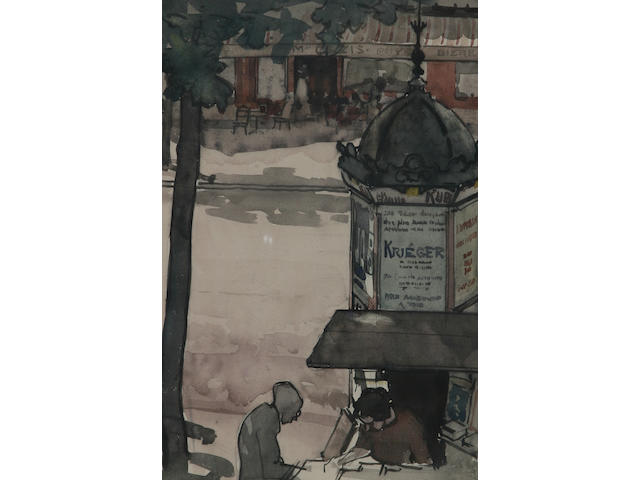 Edmund Blampied (Jersey, 1886 - 1966) 'The Newspaper Kiosk', 38.5 x 25.5cm.