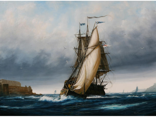 Timothy Franklin Ross Thompson (British, born 1951) 'Mailship and Cutter off Castle Cornet, in a fresh north-easterly', 60 x 80cm.