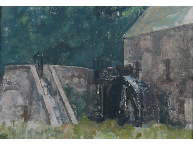 Edmund Blampied (Jersey, 1886-1966) Water Mill, possibly St.Peter's, signed and dated 1942, oil on panel, 21.5 x 30.5cm.