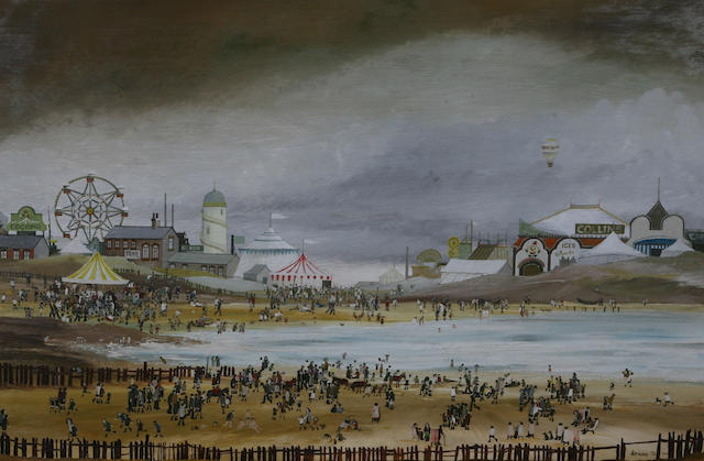 "Brian Shields  (Braaq) (British, 1951-1997) 'Don't forget to get me out of here when you come back', a busy seaside scene, signed, dated 78, inscribed ""ANN"", inscribed on label verso, oil on panel, 59.3 x 89.5cm."
