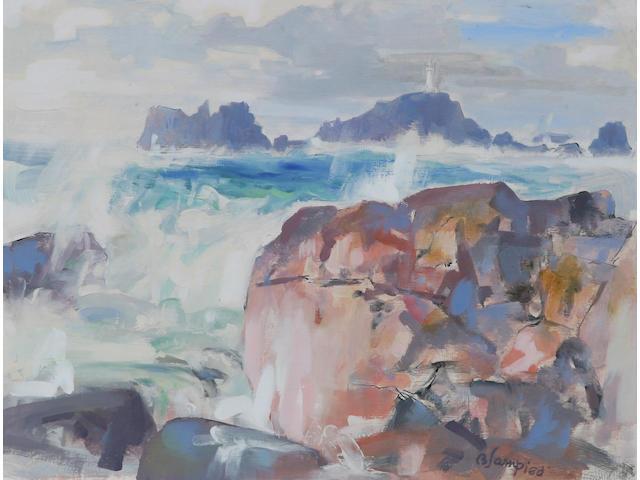 Edmund Blampied (Jersey, 1886 - 1966) 'Corbiere', 33.5 x 43.5cm.