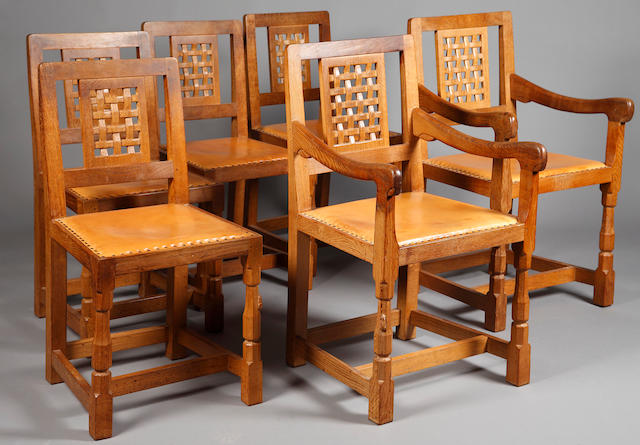 "Robert ""Mouseman"" Thompson of Kilburn oak dining chairs"